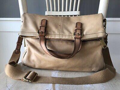 FOSSIL EXPLORER Fold Over TAN Leather Crossbody Messenger Shoulder Bag Tote