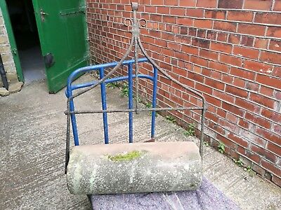 Antique ~Large ~Stone Garden Roller with Iron Handle VGC