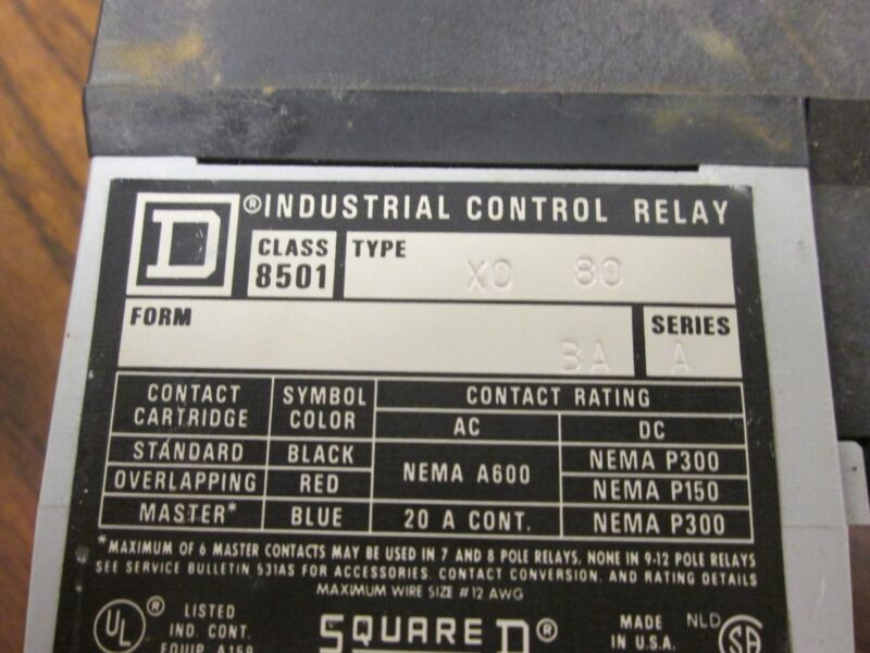 Square D Control Relay 8501X080 Used