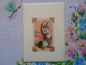 Handmade-vintage-playing-game-card-blank-greeting-birthday-card-Funny-Bunny