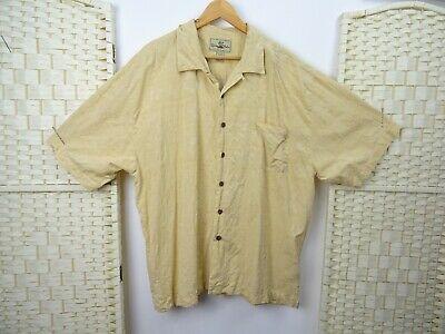 vintage silk hawaiian shirt textured short sleeve pure silk sand XL/2XL
