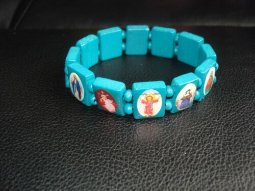 BEAUTIFUL BLUE WOODEN BEADS HOLY SAINTS  STREATCHABLE BRACELET(USA SELLER)A5