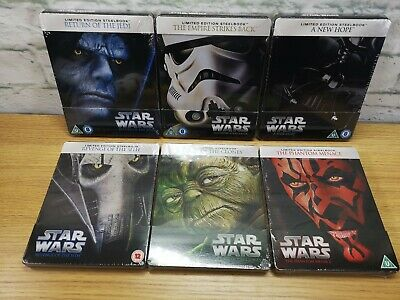 Zavvi Limited UK Star Wars Steelbook Epsiode 1-6 Blu-ray Set Empire Clone Jedi