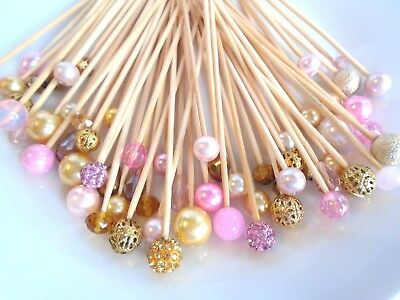 Party Skewers (Skewers Pink Rose Gold Pearl Wedding Dessert Dinner Party Food Appetizer)