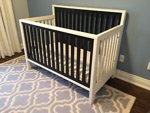 Modern Convertible Crib + Mattress + Accessories