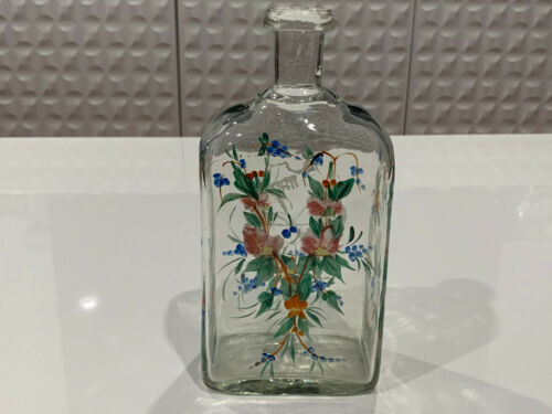 Antique 18th 19th Century Manner of Stiegel Glass Bottle Enamel Floral Tool Dec.