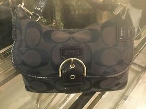 Authentic Coach Navy Canvas And patent Leather Purse