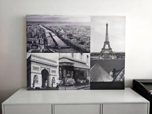 Paris French Theme Black White Canvas Picture Print