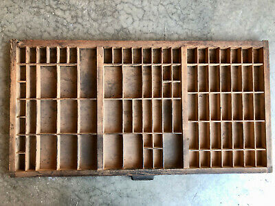 Antique Letterpress Printers wooden TYPE TRAY w/ Hamilton Handle & identity slot
