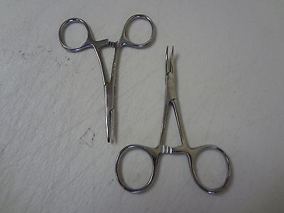 New 2pc Set 3.5 Straight Curved Hemostat Forceps Locking Clamps Stainless