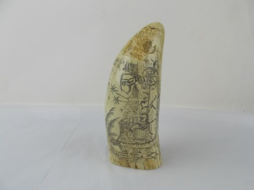 Vtg Faux Replica Scrimshaw Whale Tooth Harbor and Village Scene