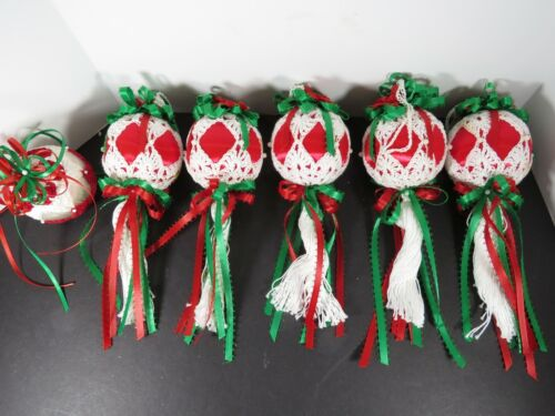 6 Vintage Crochet Covered Satin Round Christmas Ball Lot Ornaments A6500
