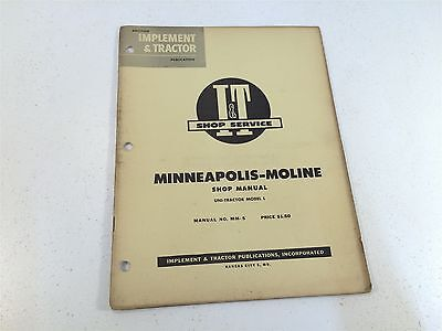 Vintage 1955 Implement Tractor Shop Manual- Minneapolis Moline Series Gb-ub-zb