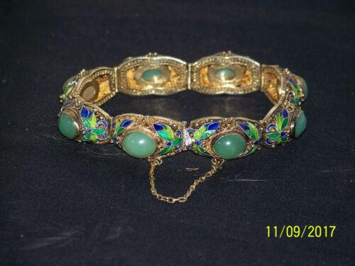 Vintage Sterling Silver -Enamel- Nephrite Jade Cabachons Bracelet