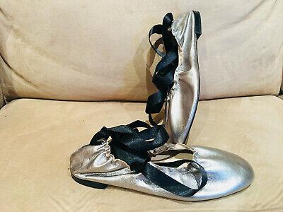 Women's Zara Metallic Silver Ballet Flats Shoes w Black Ankle Strap Wrap Sz 6/36
