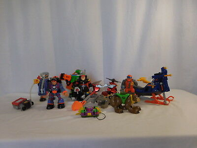 Rescue Heroes Snowmobile Bob Sled Vehicle + Rescue Heros Lot Figures + Animals