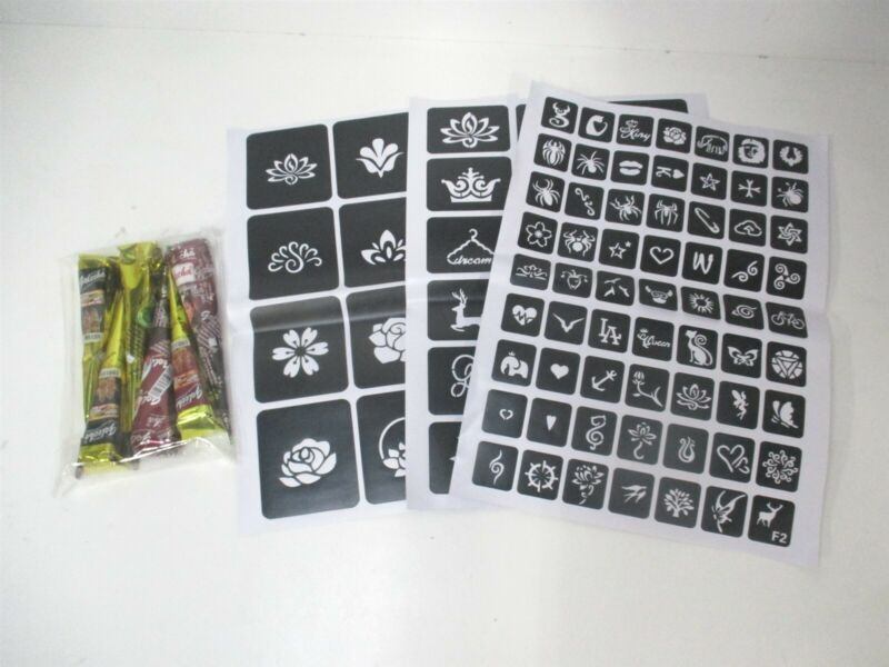 Henna Paste Tattoo Kit with Small-Large 93 Stencils and 6 Colored Paste