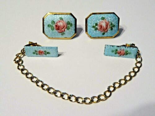ANTIQUE SWEATER BIB CLIPS AND EARRINGS ~ ENAMEL PINK ROSES BLUE GUILLOCHE
