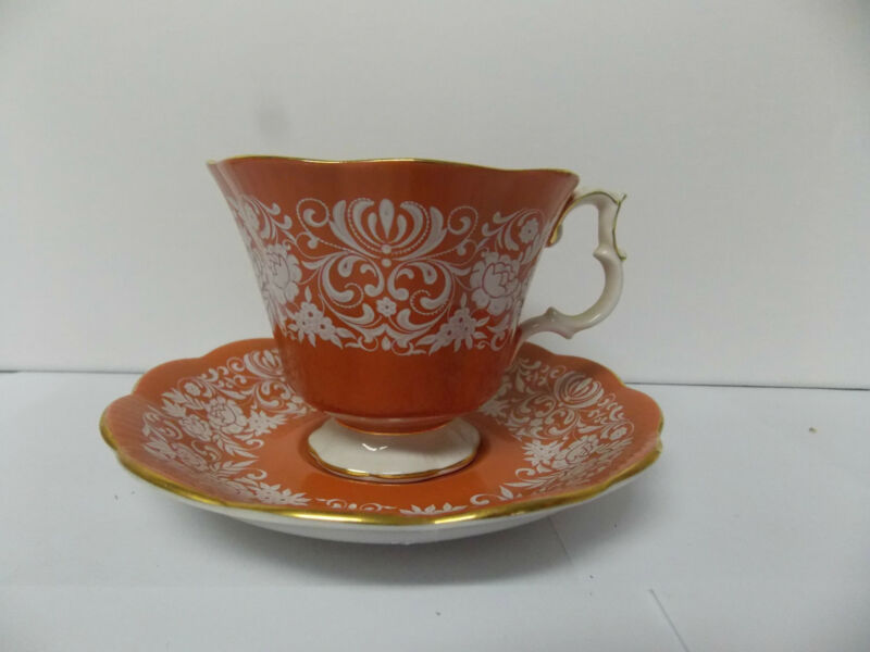 Royal Albert Bone China  Florentine Series Cup and Saucer Set Orange