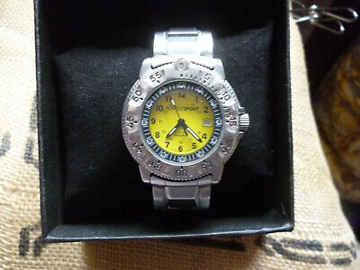 A GOOD USED TRASER RENAULTSPORT 3H MBM YELLOW FACE LADYS WATCH BOX FULLY WORKING