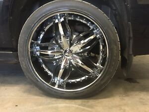 Wheels and tires for sale.  275 35 24.  Fit GMC's.  6 bolt.