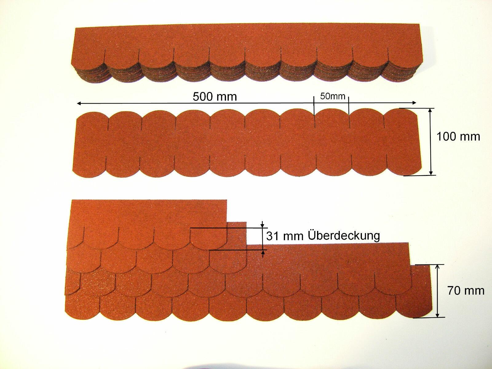 Mini- Dachschindel Biberschwanz (50 mm), Rot, Vogelhaus,Hundehütte,Dachschindeln