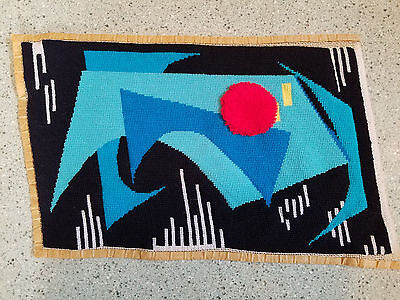 """vintage finished needlepoint 1970's abstract art 10"""" x 16"""""""