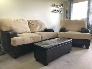 Love seat, chair & storage ottoman