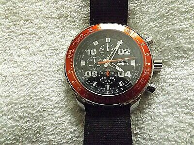 Invicta Aviator 18776 Limted Edt Chrono Black Dial, Red Bezel, Black Band Watch