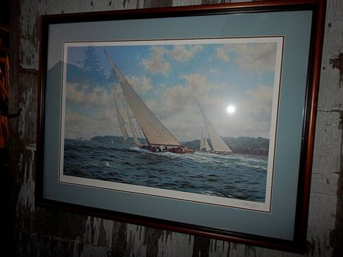 JOHN STEPHEN DEWS: Nautical Sail Boat Painting, by English artist, Hand Signed