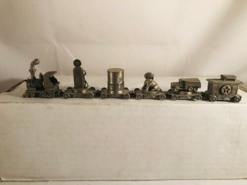 Texaco 95th Anniversary Pewter Miniature Train Set ~ Rare ~ 6 Piece ~ 8 1/2 inch