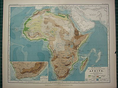 1892 VICTORIAN MAP ~ AFRICA PHYSICAL CAPE COLONY TABLE LANDS PLAINS VALLEYS