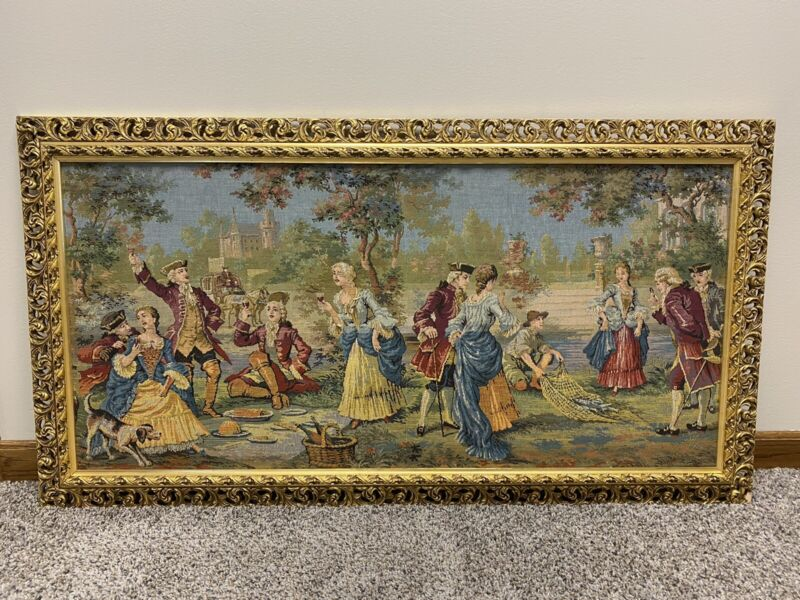 Vintage Belgium Framed Wall Hanging Tapestry Marie Antoinette At Petit Trianon