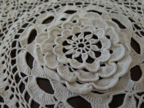2 Vintage Hand Made Doilies, 1 White With 3 Dimensional center, 1 Ecru