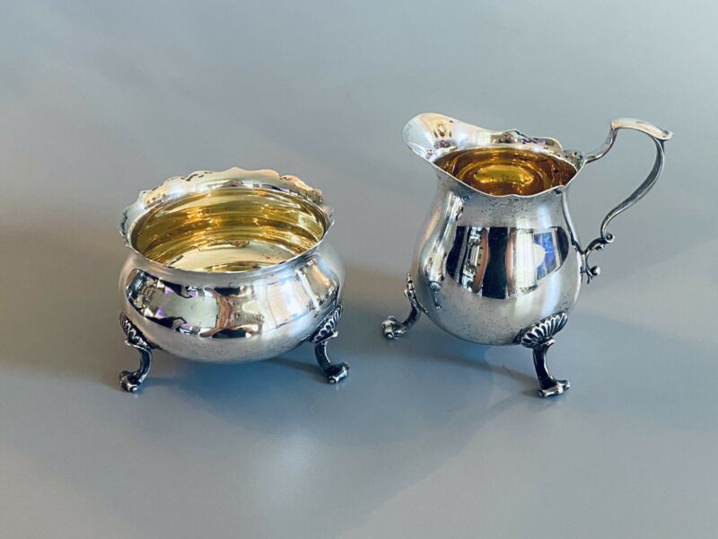 Vintage Sterling Silver Creamer and Sugar Bowl #115 by Poole