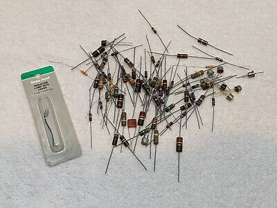 New Lot Of 80 Vintage Resistors 1 Miniature Lamp With Leads  Lk