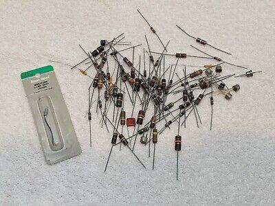 New Lot Of 80 Vintage Resistors 1 Miniature Lamp With Leads  Lk