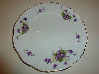Adderley England Bone China Plate, Purple Violets, Gold Tone
