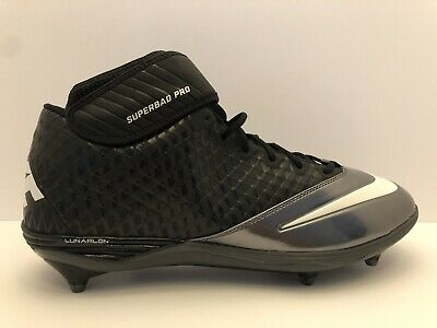 da866f9cc Nike Lunar Superbad Pro TD Molded Football Cleats Shoes Mid Black Silver NEW