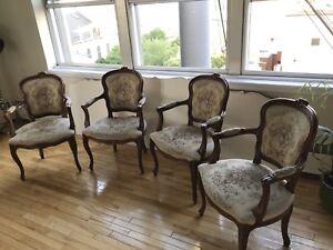 Antique rétro vintage 4 chaises chairs style Louis