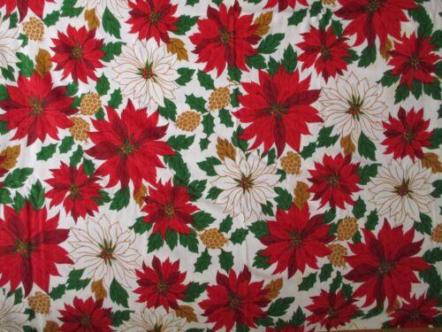 Vintage Christmas 81.25 x 54 Oval Tablecloth Handmade Poinsettia Pinecone Holly