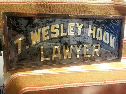 COOL 1910s GLASS SIGN T WESLEY HOOK TEXAS LAWYER GOLD LEAF AND MOTHER OF PEARL