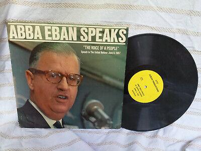 Abba Eban LP Speaks STC Album Productions C-92 Israel Rare 1967