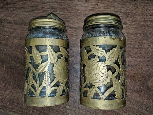2 Vtg NESTLE Embossed Glass Jar w/ Brass Sleeve & Cap Retro Coffee-Tea Ltd