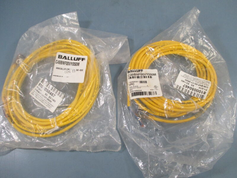 Balluff C49BNF00VY050M Right Angle Cable Lots of 2 - New