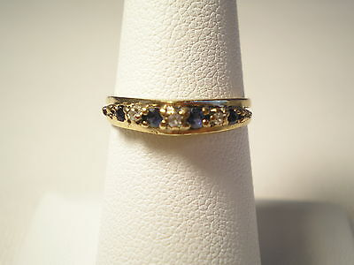 Vintage 10k Yellow Gold Natural Blue Sapphire & Diamonds Band Ring 2.0g