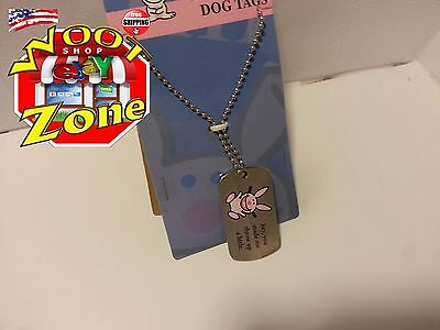 "It's Happy Bunny Dog Tag Necklace - Hey, You Made Me Throw Up A Little 26"" Chain"