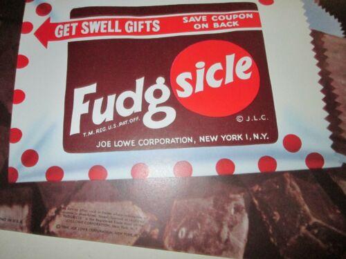 NOS Original 1960 Fudgsicle Frozen Fudge Bar  Small Ice Cream Paper Poster