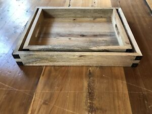 Rustic industrial wood metal serving trays, large and med size