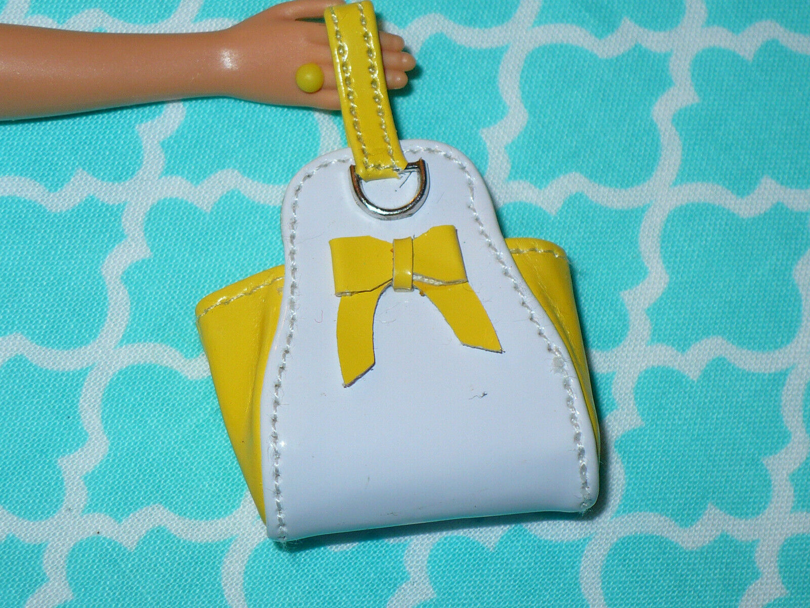 Barbie Doll DESIGNER REALISTIC YELLOW WHITE PURSE Fashion Royalty Integrity  - $31.99